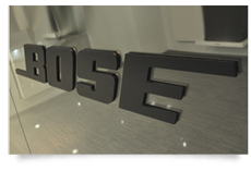 spray painted 3d letters applied to glass