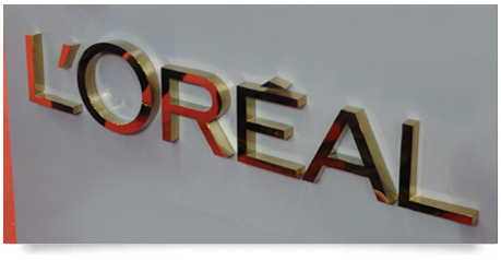 mirror polished brass fabricated lettering