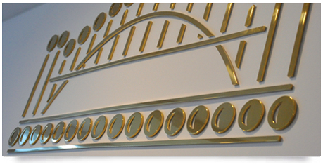 solid brass lettering with mirror finish