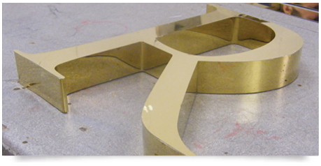 fabricated thick brass letter