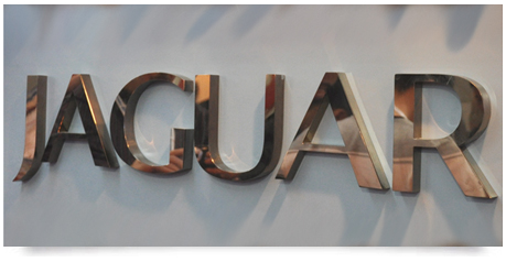 polished copper signage with mirror finish