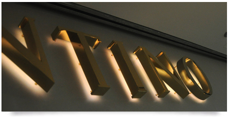 led lit brass letters