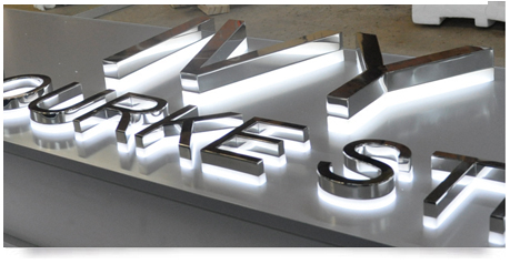 double layer of sign illumination using stainless steel and acrylci lettering
