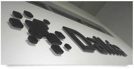 office recption sign with drop shadow effect