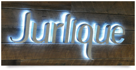 stainless steel lettering with halo glow effect