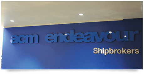 office signage with shadow effect and stainless steel lettering
