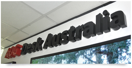 feature wall office sign with thick spray painted letters