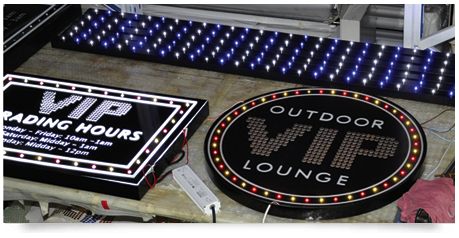 vip opening hours gaming signage with illuminated graphics and led lighting