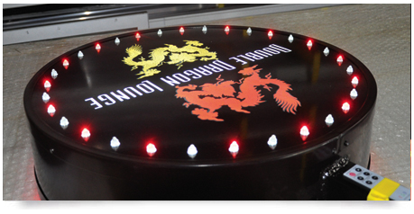 round light box double sided with led lighting which flashes