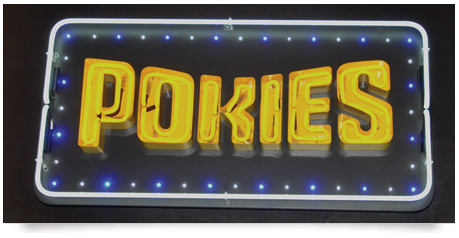 pokies neon sign with led's which flash