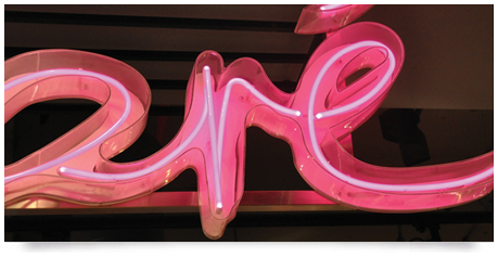 neon tubing in fabricated perspex letters