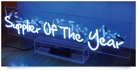 clean neon sign in clear perspex box