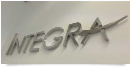 office sign with stainless steel fabricated lettering