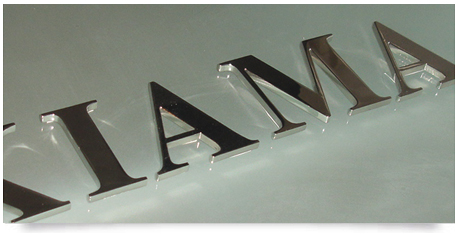 highly polished stainless steel lettering