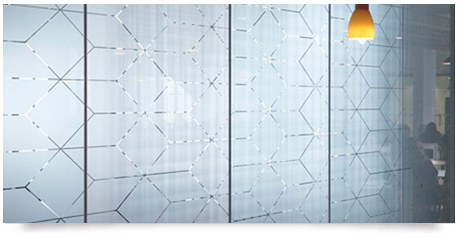 pattern designed and cut-out section to allow light through the frosted window pattern