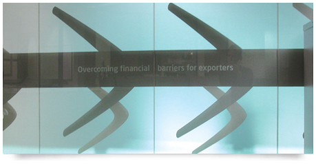 corporate logo in vinyl with window frosting